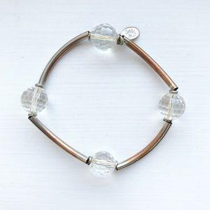 Vintage clear bead & metal bar stacking bracelet